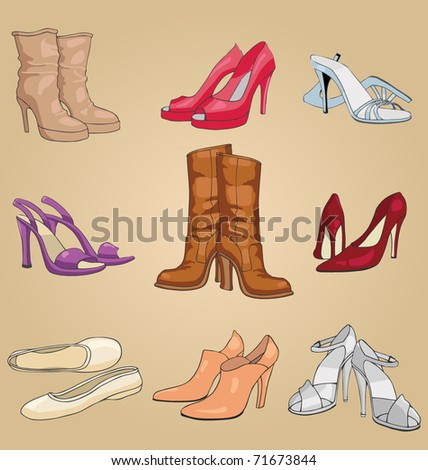 vector set of contemporary female footwear collection - stock vector