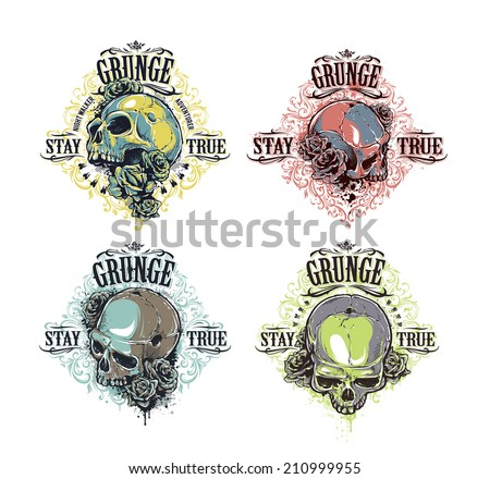 Vector set of cool grunge prints with skulls, florals and roses. - stock vector