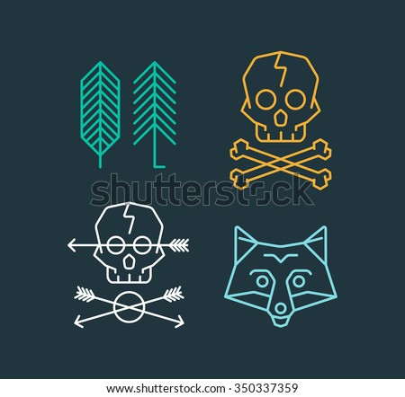 Vector set of cool logo templates on background. Retro styled trendy vector emblems. Fox, Skull, Arrows and Trees Logo.  - stock vector