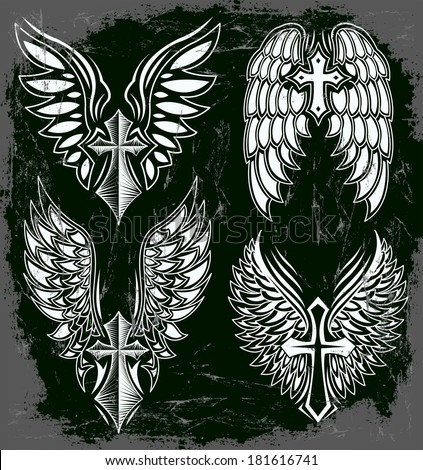 Vector Set of cross and wings - tattoo - elements - dark style - Grunge effects can be easily removed  - stock vector