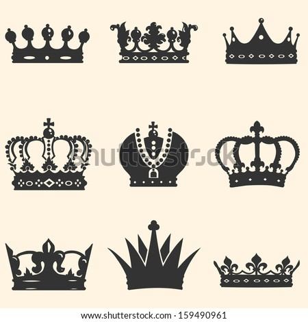 Vector Set of 9 Crown Icons - stock vector