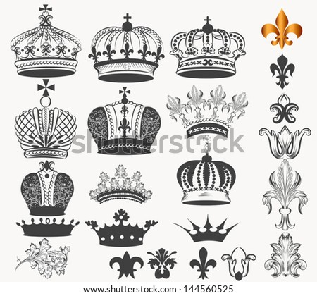 Vector set of  crowns for your heraldic design - stock vector