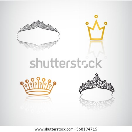 Vector set of crowns, tiaras, lace and simple crown logos, icons, illustrations - stock vector