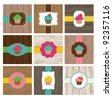 Vector Set of Cupcake and Woodgrain Cards or Tags - stock vector