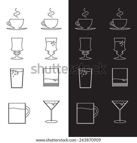 Vector set of cups and glasses in eps - stock vector