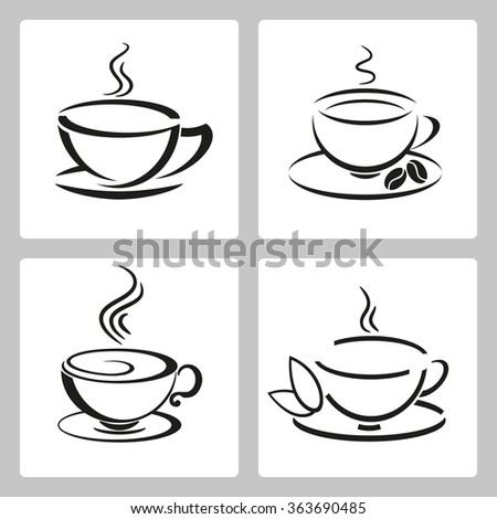 Vector set of cups icon for tea and coffee - stock vector