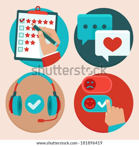 Vector set of customer service in flat style - feedback, survey and support - stock vector