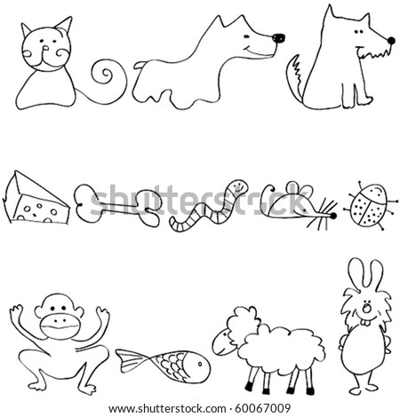 Vector set of cute and funny animals - stock vector