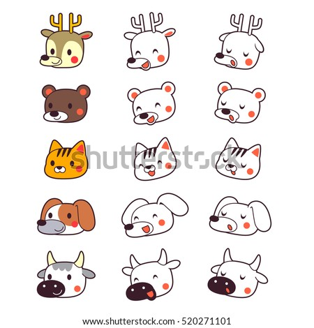 Vector Set of Cute Animal Faces including Deer, Bear,Cat,Dog, and Cow, isolated on White Background.