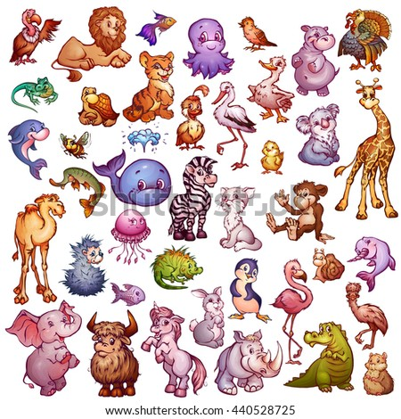 Vector set of cute animals for pets alphabet. Lion, rhino, giraffe and etc. - stock vector