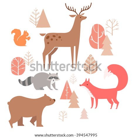 Vector set of cute animals in the forest: fox, bear, raccoon, deer and squirrel. illustration in cartoon style. - stock vector