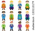 Vector Set of Cute Cartoon Princes - stock vector