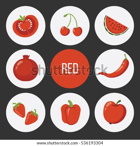 Vector Set Cute Color Fruits Vegetables Stock Photo (Photo, Vector ...