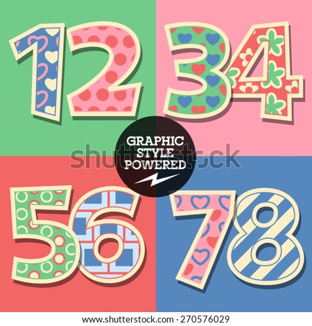 Vector set of cute colorful children font - stock vector