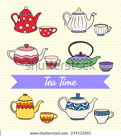 Vector set of cute colorful freehand teapots and cups on retro yellow polka dot background