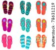 Vector set of cute, colorful fun flip flops illustration - stock photo