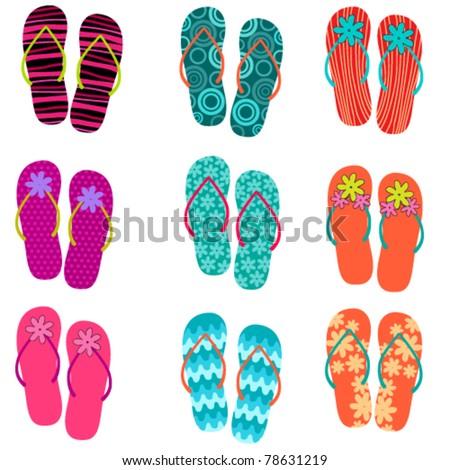 Vector set of cute, colorful fun flip flops illustration - stock vector