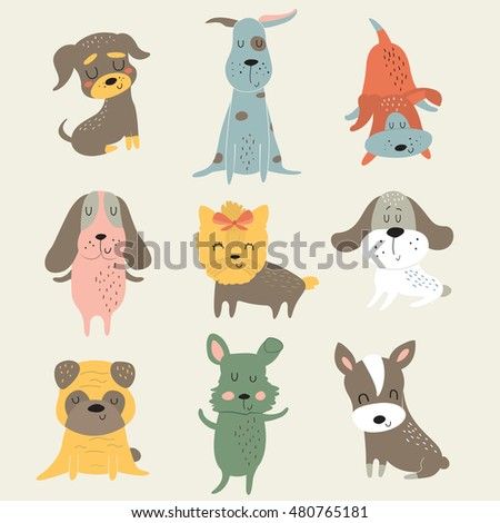 Vector set of cute dogs in cartoon style