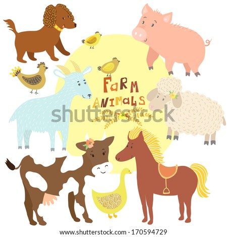 Vector set of cute farm animals: cow, horse, pig, sheep, goat, dog, hen with chickens, goose - stock vector
