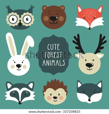 Vector set of cute forest animals: owl, bear, fox, rabbit, deer, raccoon, hedgehog, wolf.  - stock vector