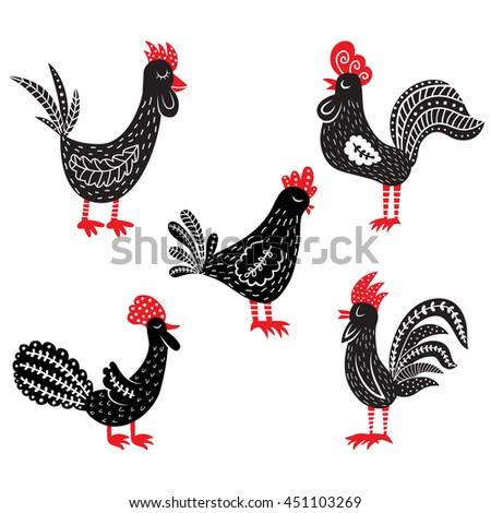 vector set of cute hand drawn roosters, black and red cockerels illustration - stock vector