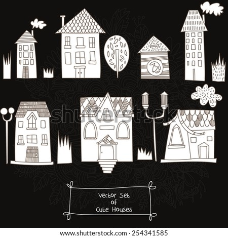 Vector set of Cute Houses. Sketches of houses on chalkboard - stock vector