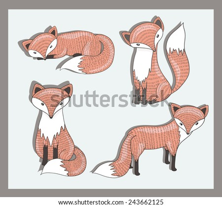 Vector set of cute little fox. Adorable forest animals. - stock vector