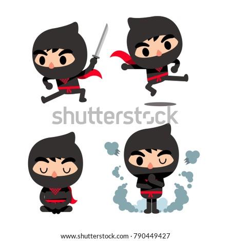 vector set cute ninja characters different stock vector 790449427