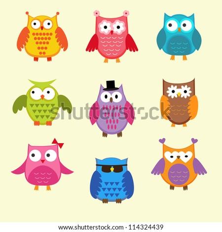 Vector set of cute owls - stock vector