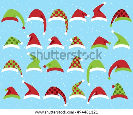 Vector Set of Cute Santa Claus or Christmas Hats