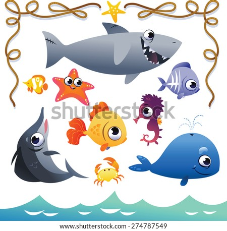 Vector Set of cute sea animals and rope frame. Isolated vector illustration