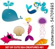 Vector set of cute sea creatures - stock photo