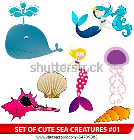 Vector set of cute sea creatures - stock vector