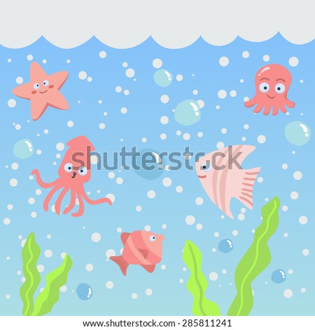 Vector Set of Cute Sea Creatures Animal in Pink Theme. Vector illustration of fish, starfish, and squid in the sea. - stock vector