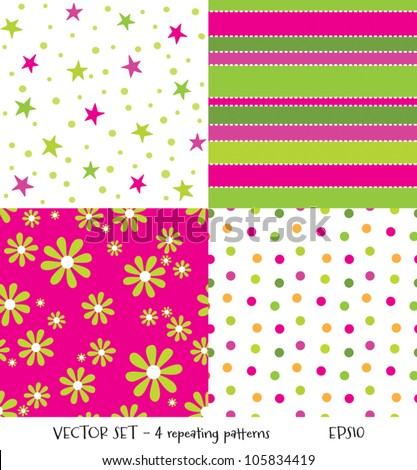 Vector set of 4 cute seamless background patterns. Can be used for textiles and surface textures, scrap-booking, greeting cards, gift wrap, wallpapers. See my portfolio for JPEG versions. - stock vector