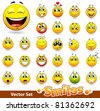 Vector set of cute smile-balls. All elements are grouped. - stock photo