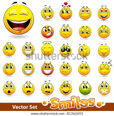 Vector set of cute smile-balls. All elements are grouped.