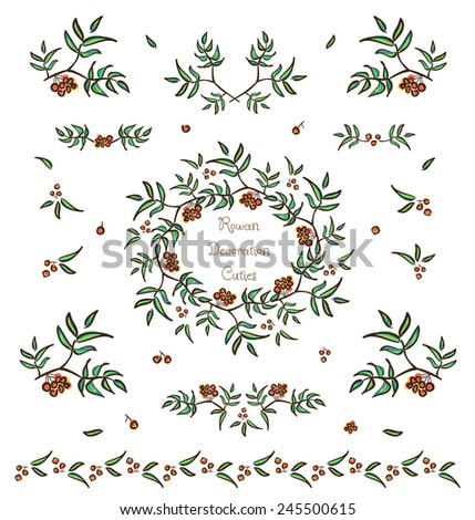 Vector set of cute tree twigs decorative elements, borders and vignettes made of rowan tree berries and leaves for cards and design - stock vector