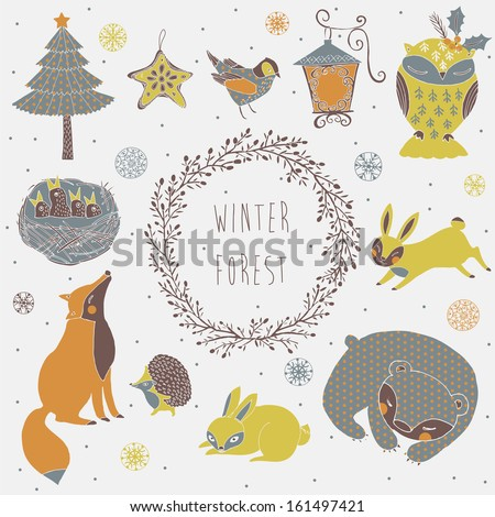 Vector set of cute wild animals in the winter  forest - stock vector