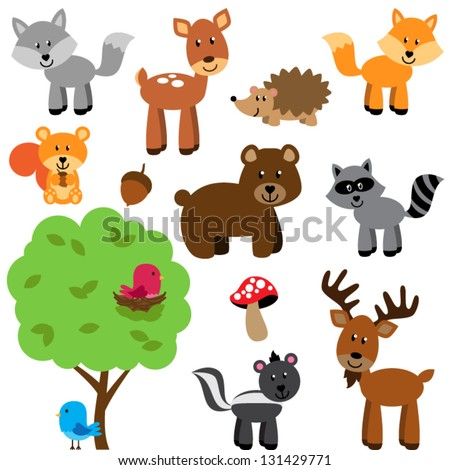 Vector Set of Cute Woodland and Forest Animals - stock vector