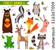 vector set of cute woodland and ...