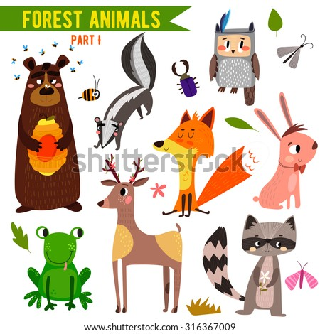 Vector Set of Cute Woodland and Forest Animals. Part I: bear, frog, skunk, owl, fox, deer, raccoon, rabbit.