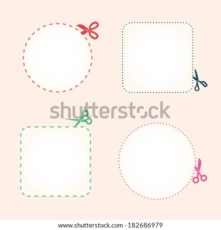 Vector set of cutting scissors