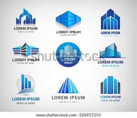 Vector set of 3d blue office buildings logos, houses skyscrapers logos, property icons. Identity.  - stock vector