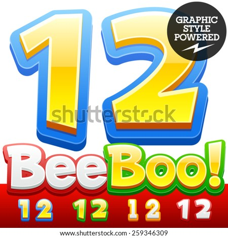 Vector set of 3D colorful children font in cartoon style. Optional different colors. Numbers 1 2 - stock vector