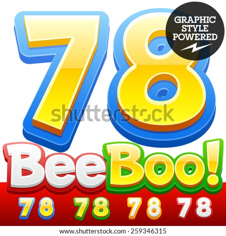Vector set of 3D colorful children font in cartoon style. Optional different colors. Numbers 7 8 - stock vector