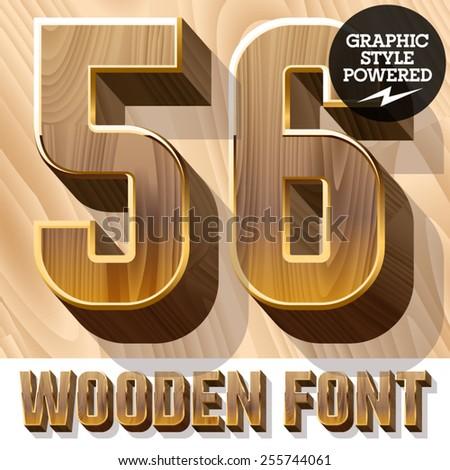 Vector set of 3D luxury wooden font in golden border. Numbers 5 6 - stock vector