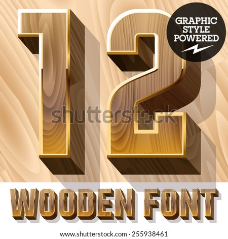 Vector set of 3D luxury wooden font in golden border. Numbers 1 2 - stock vector