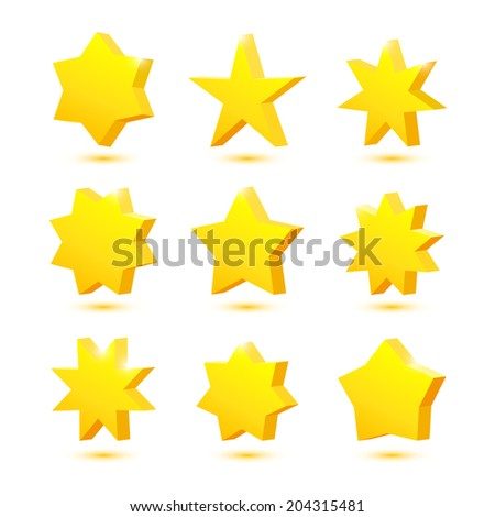 Vector set of 3d yellow stars with shadows isolated - stock vector