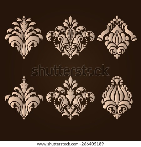 Vector set of damask ornamental elements. Elegant floral abstract elements for design. Perfect for invitations, cards etc. - stock vector